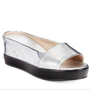 French Connection Pepper Silver Wedge Slide 39 8.5